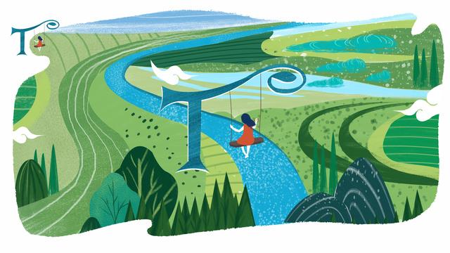 Letter 邂逅 color t original illustration, Letter 邂逅, Letter T, Swing Girl illustration image