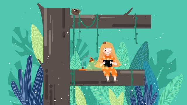 Small fresh letter 邂逅 f little girl reading, Letter 邂逅, Reading, Green illustration image