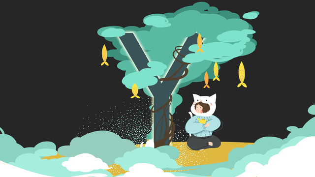 Small fresh illustration letter 邂逅 y llustration image illustration image