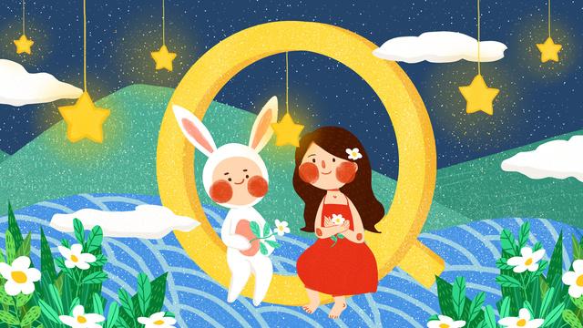 字母邂逅q少女兔子可愛簡約扁平原創插畫 插畫素材