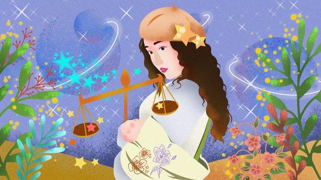 12 constellation libra girl original illustration, Libra, Girl, Plant illustration image
