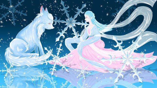 पुरातात्विक सपना चित्रण परी और सफेद बर्फ की छोटी पर लोमड़ी चित्रण छवि