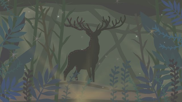 Deer hand drawn illustration in simple fresh night forest, Lin Shenjian Deer, Animal, Flowers illustration image