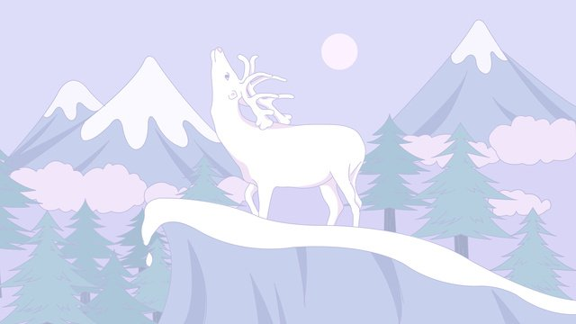 The small fresh healing system illustrator lin sees white deer in lushan forest., Lin Shenjian Deer, Deer, Forest illustration image