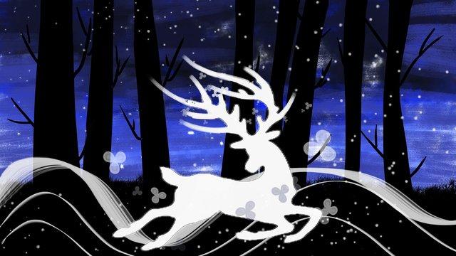 Lin shenjian deer deep forest encounter, Lin Shenjian Deer, Deer, Illustration illustration image