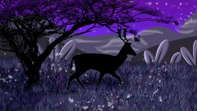 creative doodle style forest deep see deer silhouette illustration llustration image illustration image