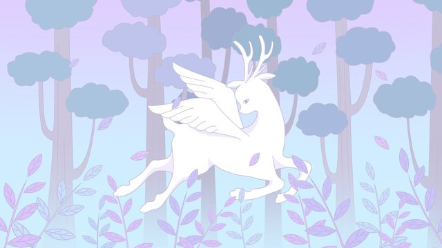 The cure is a fresh illustration lin shen sees deer flying white, Lin Shenjian Deer, Forest, Deer illustration image
