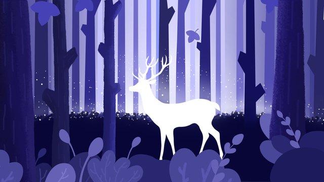 deer illustration in dreamy purple forest llustration image