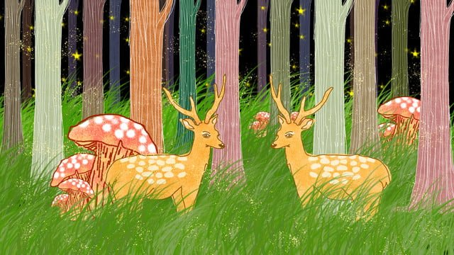 Little deer playing in the forest at night illustration The deer are playing in the forest at night mushroom Forest with deer illustration, Forest And Deer, Illustration, Moon illustration image
