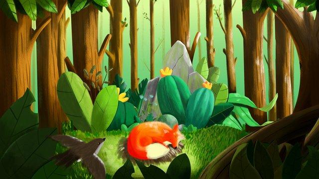 plant system pequena floresta de raposa ilustração Material de ilustração Imagens de ilustração
