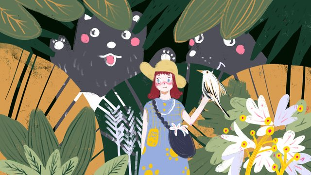 Original little girl my secret garden jungle adventure travel, Little Girl, Original Illustration, Jungle illustration image