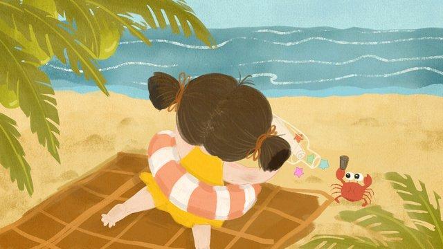 ドリフトボトルと夏の海辺の少女小さな女の子  シーサイド材  ドリフトボトル PNGおよびPSD illustration image
