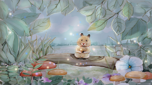 Original cure is a small fresh illustration cute little mouse, Little Mouse, Cute Pet, Forest illustration image