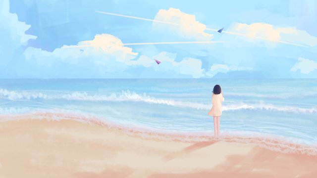 Looking at the sky Blue sky White clouds Sea, Spray, Beach, Wallpaper illustration image