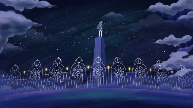 original hand painted illustration of a healing girl looking out into the sky llustration image illustration image