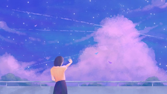 Looking at the sky wallpaper Blue purple Back view, Cure, Blue Sky, Cloud illustration image