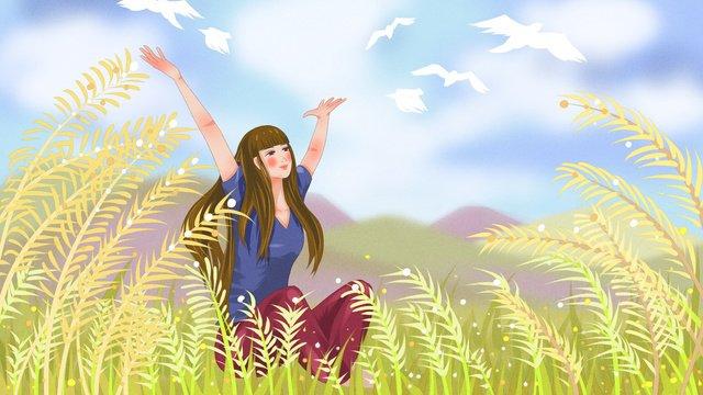 नरकट में आकाश को देख रही लड़की चित्रण छवि