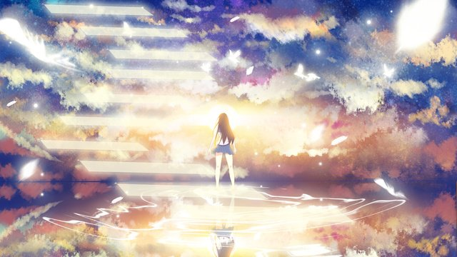 Healing system watching the sky girl evening glow beautiful clouds illustration, Lookout, Sky, Healing illustration image