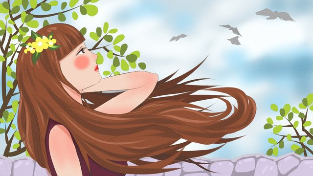 fresh and original illustration of a girl looking out into the wind on roof llustration image illustration image