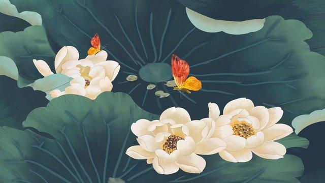 中国風インクビンテージ蓮蓮蝶 イラスト素材
