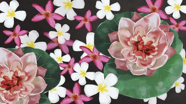 Lotus leaf white flower small illustration, Lotus, Lotus Leaf, Small Flower illustration image