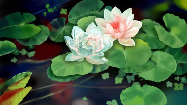 night pond and ti lianlian chinese style realistic illustration llustration image illustration image