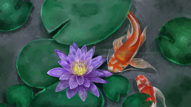 Watercolor chinese style lotus pond water lily koi llustration image