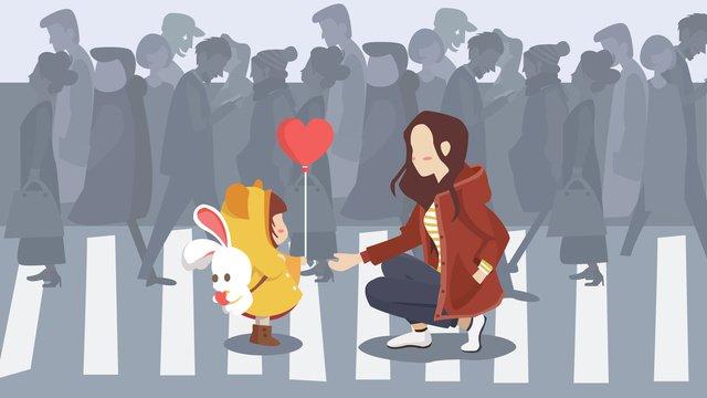 慈善日愛永伴身邊插畫 插畫素材