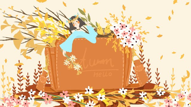 small fresh and lovely beautiful fashion bag with autumn fall hello llustration image illustration image
