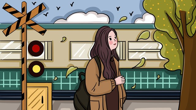 November cute cartoon girl traveling in autumn scenery, Lovely, Cartoon, Flat illustration image