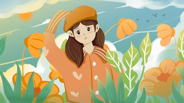 Cute cartoon girl watching the clouds in flat autumn landscape, Lovely, Cartoon, Flat illustration image