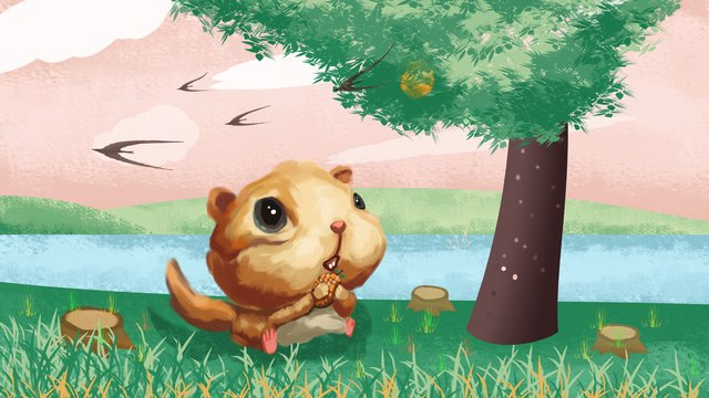 Cute selling little squirrel, Lovely, Forest, Cute Pet illustration image
