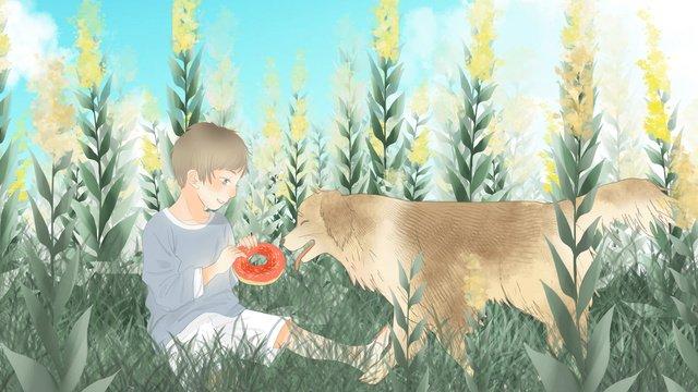 かわいい男の子と新鮮な花のゴールデン・リトリーバー イラスト素材 イラスト画像