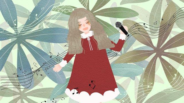 素敵な新鮮な音楽祭で歌っている小さな女の子 イラストレーション画像