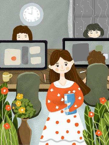 Business office small fresh illustration girl at, Lovely, Small Fresh, Beautiful illustration image