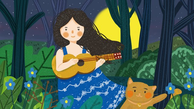 Good night hello cute cartoon flat little fresh girl playing guitar, Lovely, Small Fresh, Girl illustration image