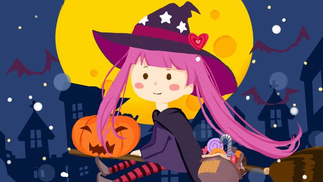 Cute witch over halloween holiday illustration, Lovely, Witch, Halloween illustration image