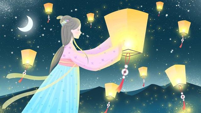 下元節古風插畫放孔明燈的古裝美女 插畫素材 插畫圖片