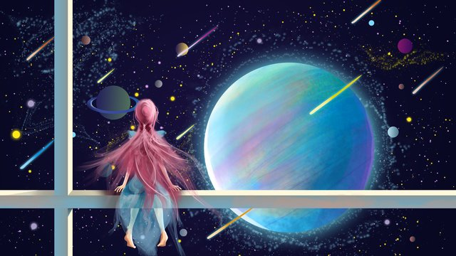 fantasy starry sky girl watching meteor illustration llustration image