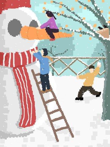 snowman playing snowballs pixel painting original illustration llustration image