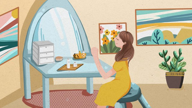 trang điểm skincare cô gái gió phẳng minh họa Hình minh họa