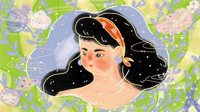 메이크업 스킨 케어 거울의 아름다운 소녀 삽화 소재