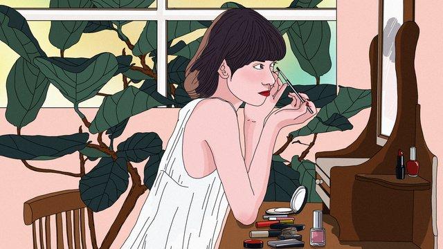 original makeup skin care beautiful girl hand drawn illustration llustration image illustration image