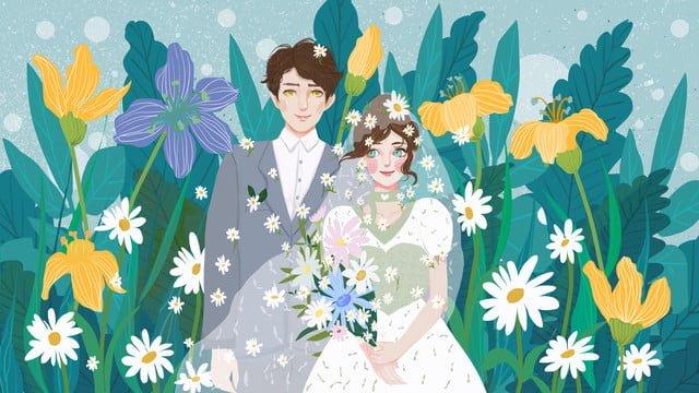 小さな新鮮でロマンチックな美しいカップルの結婚式の季節 イラスト素材 イラスト画像