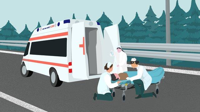 道路医療救助シーンイラスト壁紙素材 イラスト素材 イラスト画像