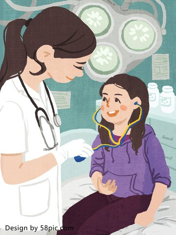 medical scene doctor and little girl looking at the original hand drawn illustration llustration image