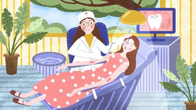 Medical scene check teeth girl dentist love, Medical, Scenes, Medical Scene illustration image