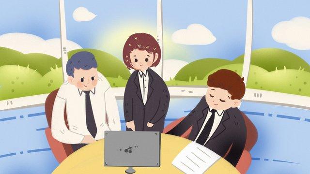 会議商談営業所残業事務所スーツ金融募集 イラスト素材
