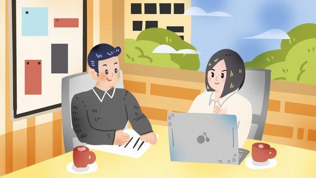 会議商談営業所残業事務所スーツ金融募集会議  交渉  事務所 PNGおよびPSD illustration image