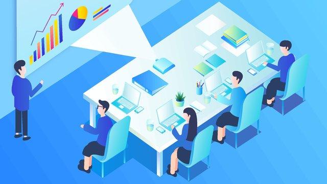 business office meeting scene vector illustration 25d isometric llustration image